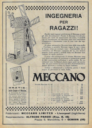 "1929 * Advertising Original ""Meccano - Ingegneria per Ragazzi"" in Passepartout"