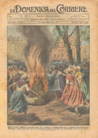 """1929 * Original Historical Magazine """"La Domenica Del Corriere (N°20) - Festa di Primavera ad Antibes"""""""