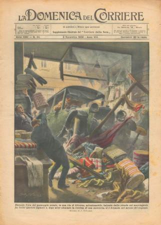 """1929 * Original Historical Magazine """"La Domenica Del Corriere (N°44) - Automobile Sfonda Vetrina Merceria"""""""