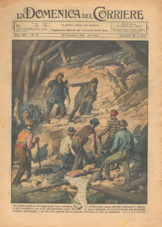 "1929 * Original Historical Magazine ""La Domenica Del Corriere (N°47) - Grande Galleria dell'Appennino Tosco-Emiliano"""