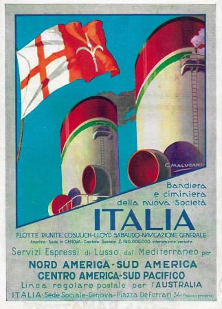 """1932 * Advertising Original """"Italia Flotte Riunite - Bandiera Nuova Società - MALUGANI"""" in Passepartout"""