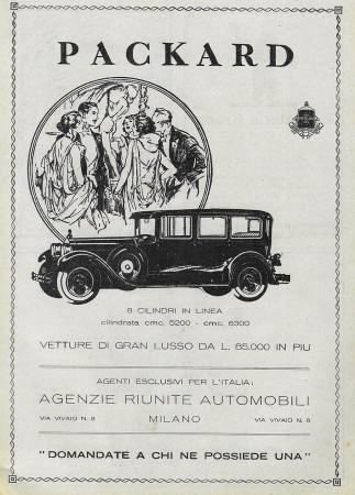 "1929 * Advertising Original ""Packard - 8 Cilindri in Linea"" in Passepartout"