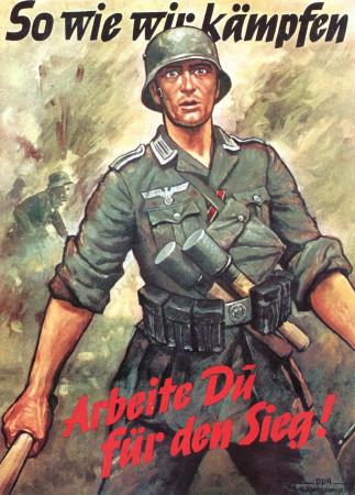 """ND (WWII) * War Propaganda Reproduction """"Germania - Come Noi Combattiamo, Tu Lavora!"""" in Passepartout"""
