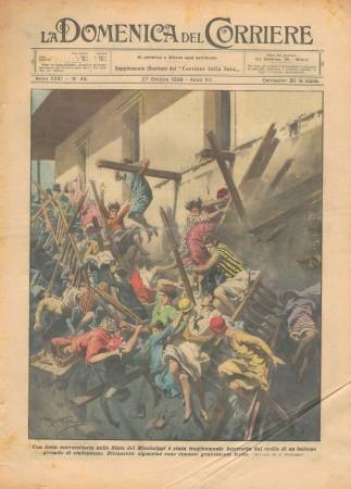 """1929 * Original Historical Magazine """"La Domenica Del Corriere (N°43) - Crollo di Un Balcone nel Mississippi"""""""