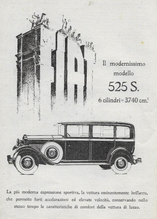 "1929 * Advertising Original ""Fiat - 525 S"" in Passepartout"