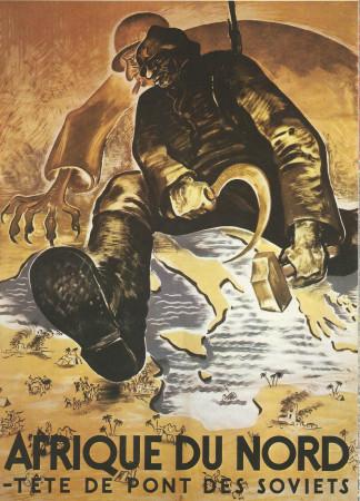 """ND (WWII) * War Propaganda Reproduction """"Governo Di Vichy - Africa Del Nord Testa Di Ponte Dei Sovietici"""" in Passepartout"""