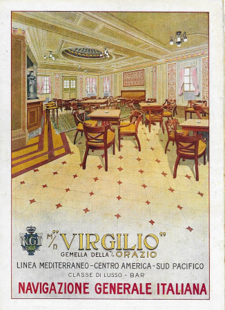 "1928 * Advertising Original ""Navigazione Generale Italiana - Virgilio - Classe di Lusso - Bar"" in Passepartout"