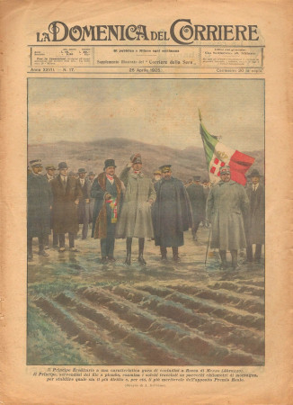 """1925 * La Domenica Del Corriere (N°17) """"Principe Ereditario a Rocca di Mezzo - Abruzzo"""" Original Magazine"""