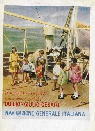 """1929 * Advertising Original """"Navigazione Generale Italiana - Bimbi A Bordo - STUDIO TESLA"""" in Passepartout"""
