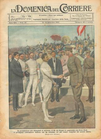 """1920 * La Domenica Del Corriere (N°37) """"Nedo Nadi Premiato alle Olimpiadi di Anversa"""" Original Magazine"""