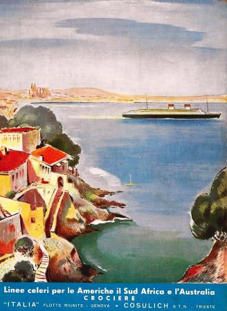 """1936 * Advertising Original """"Italia Flotte Riunite - Crociere"""" in Passepartout"""