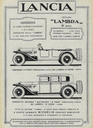 "1928 * Advertising Original ""Lancia - Lambda 8° Serie - Torpedo 4-5 Posti"" in Passepartout"