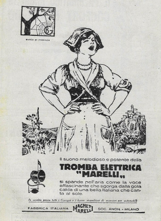 "1929 * Advertising Original ""Magneti Marelli - Tromba Elettrica"" in Passepartout"