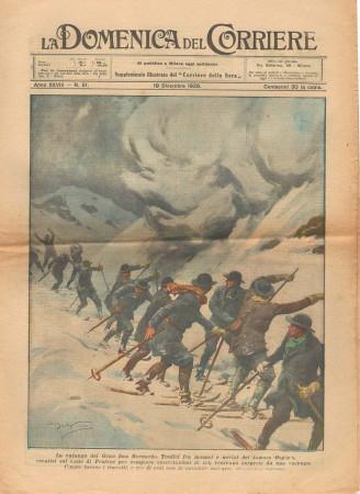 """1926 * La Domenica Del Corriere (N°51) """"Valanga Gran San Bernardo"""" Original Magazine"""
