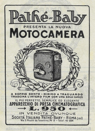 "1928 * Advertising Original ""Pathè-Baby - La Nuova Motocamera"" in Passepartout"
