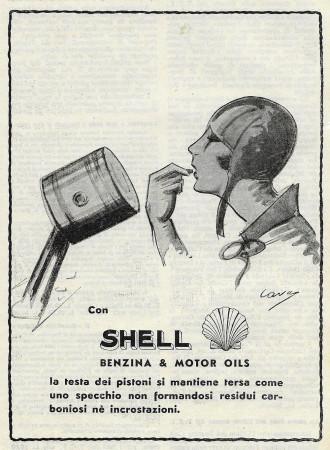 "1932 * Advertising Original ""Shell - Testa Pistoni Non Forma Residui - CAVA"" in Passepartout"