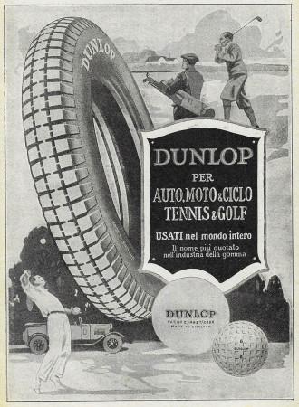 """1929 * Advertising Original """"Dunlop - Tennis e Golf"""" in Passepartout"""