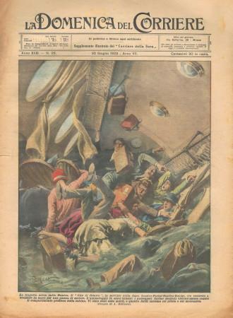 """1929 * Original Historical Magazine """"La Domenica Del Corriere (N°26) - La Tragedia Aerea Sulla Manica"""""""