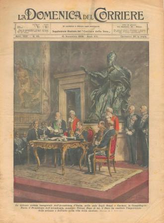 """1929 * Original Historical Magazine """"La Domenica Del Corriere (N°45) - Solenne Seduta dell'Accademia d'Italia"""""""