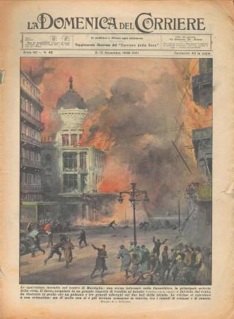 """1938 * La Domenica Del Corriere (N°46) """"Incendio a MARSIGLIA - Matrimonio Subacqueo"""" Original Magazine"""