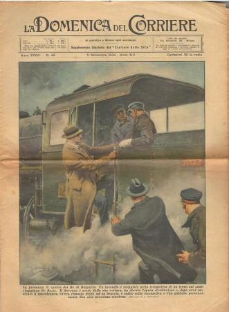 """1934 * La Domenica Del Corriere (N°45) """"RE Boris di Bulgaria Incendio Treno"""" Original Magazine"""