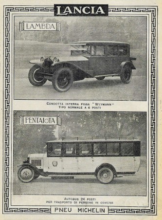 "1929 * Advertising Original ""Lancia - Lambda e Pentajota"" in Passepartout"