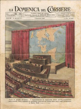 """1946 * La Domenica Del Corriere (N°32) """"Assemblea Generale ONU New York - Incidente treni Roma"""" Original Magazine"""