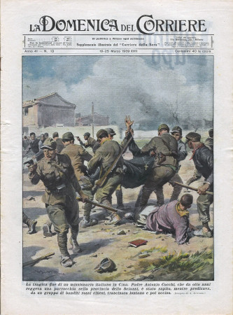"""1939 * La Domenica Del Corriere (N°13) """"Missionario Italiano Ucciso in Cina -  Corsa nella Notte """" Original Magazine"""