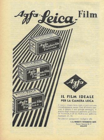 """1932 * Advertising Original """"Agfa Leica - Il Film Ideale"""" in Passepartout"""