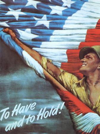 """ND (WWII) * War Propaganda Reproduction """"USA - Avere E Tenere"""" in Passepartout"""