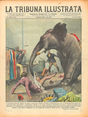"1935 * Original Historical Magazine ""La Tribuna Illustrata (N°6) - Incidente Elefante Circo di Londra"""