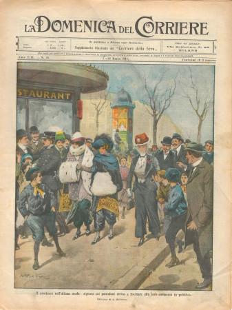 """1911 * La Domenica Del Corriere (N°10) """"Donne Derise con i Pantaloni"""" Original Magazine"""