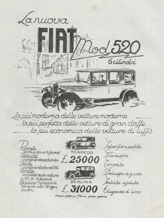 "1928 * Advertising Original ""Fiat - Mod 520 6 Cilindri"" in Passepartout"