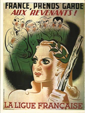 """ND (WWII) * War Propaganda Reproduction """"Governo Di Vichy - Francia, Attenta Ai Fantasmi!"""" in Passepartout"""