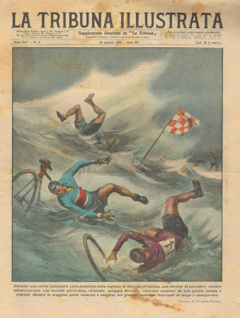 "1937 * Original Historical Magazine ""La Tribuna Illustrata (N°4) - Incidente Corsa Campestre Ciclo-Podistica"""