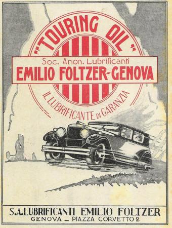 """1929 * Advertising Original """"Touring Oil - Il Lubrificante di Garanzia"""" in Passepartout"""