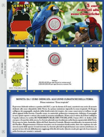 "2017 Sheet + Pochet 5 Euro GERMANY ""Planet Climate"" * ABAFIL"