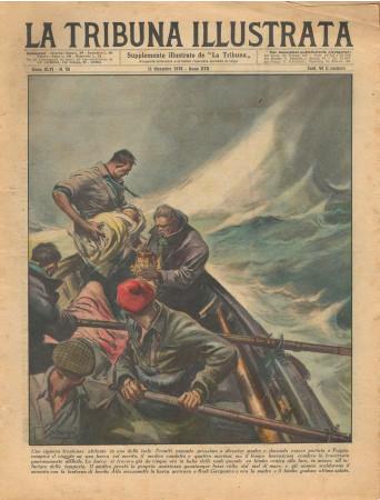 """1938 * La Tribuna Illustrata (N°50) – """"Parto in Mare alle Tremiti - Combattimento Galli"""" Original Magazine"""