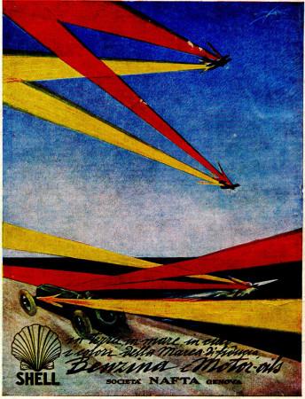 "1930 * Advertising Original ""Shell - In Terra, In Mare - MAZZA"" in Passepartout"