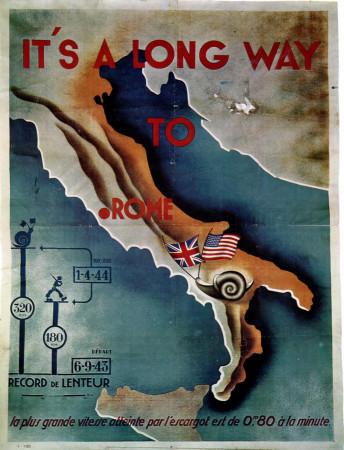 """ND (WWII) * War Propaganda Reproduction """"Governo di Vichy - È Lunga La Via Per Roma"""" in Passepartout"""