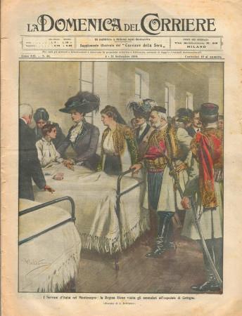 """1910 * Original Historical Magazine """"La Domenica Del Corriere (N°36) - I Sovrani d'Italia nel Montenegro"""""""