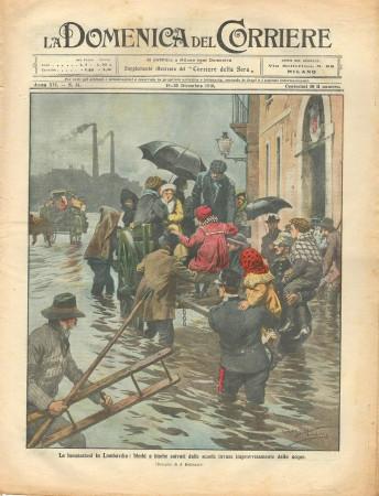 """1910 * Original Historical Magazine """"La Domenica Del Corriere (N°51) - Le Inondazioni in Lombardia"""""""