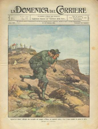 """1912 * La Domenica Del Corriere (N°7) """"Episodi di Valore - Fuochi a Tripoli"""" Original Magazine"""