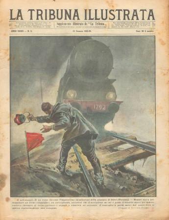 """1931 * Original Historical Magazine """"La Tribuna Illustrata (N°2) - Salvataggio Treno Durante Inondazione"""""""