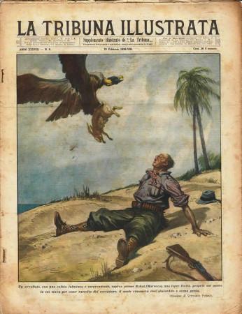 "1930 * Original Historical Magazine ""La Tribuna Illustrata (N°8) - Avvoltoio Cattura Lepre Ferita"""
