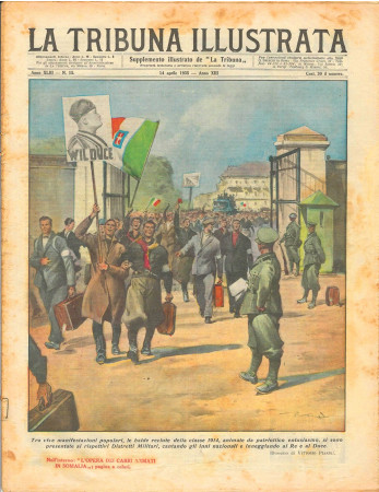 """1935 * Original Historical Magazine """"La Tribuna Illustrata (N°15) - Manifestanti Inneggiano Al Re e al Duce"""""""