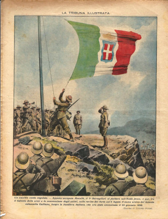 "1935 * Original Historical Magazine ""La Tribuna Illustrata (N°47) -  Truppe Italiane Issano Bandiera sull'Enda Jesus (Retro)"""
