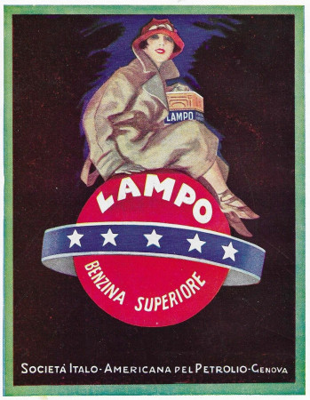 "1928 * Advertising Original ""Lampo - Benzina Superiore - Donna"" in Passepartout"