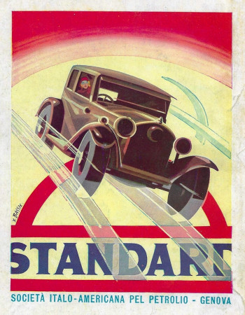 "1932 * Advertising Original ""Esso - Standard (Macchina) - BASSI"" in Passepartout"