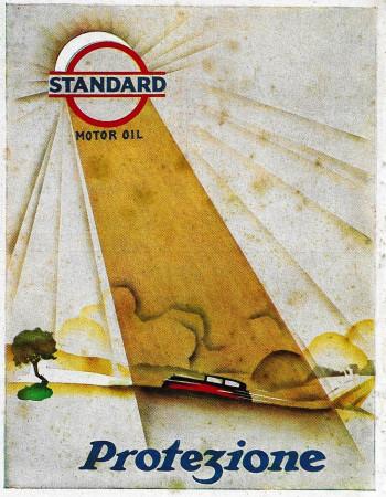 "1929 * Advertising Original ""Standard Motor Oil - Protezione"" in Passepartout"